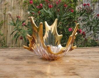 Vintage French Mid Century Modern Gilded Art Glass Bowl