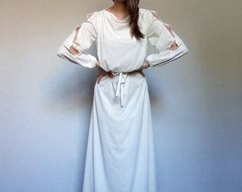 70s Gown Vintage Long Sleeve Maxi Split Sleeve Boho Dress Ivory Hippie Maxi Festival Dress - Extra Small to Small XS S