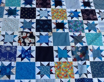 """Scrappy Blue 6"""" Stars Unfinished Quilt Top"""