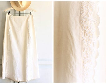 white maxi skirt 90s vintage OSCAR de la RENTA | silk linen blend