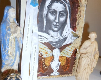 St. Veronica's Tears Fill The Chalice / Bookboard Art  Mixed Media / Christian Art / Ready To Hang