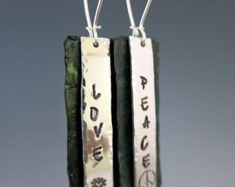 "Peace & Love Earrings, Handmade Mixed Metal Earrings, 2 1/4"" Long Dangles, Ready to Ship"