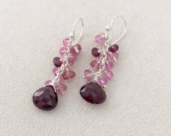 Semiprecious Gemstone Earrings in Sterling Silver with Garnet, Mystic Pink Topaz, Mystic Pink Quartz