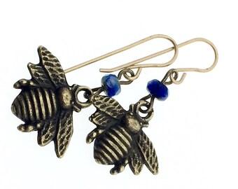 Brass bee earrings, honey bee earring, blue glass and brass bee charm drops, insect earrings, bug earrings, bug jewelry, honey bee earrings