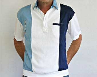 Vintage Men's Sport Shirt 1990's Casual Golf Shirt Summer Dad Father Size Medium