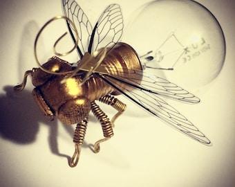 Steampunk Art - Clockwork Fly/Insect Lightbulb Sculpture
