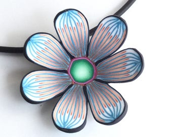 Flower Pendant, Flower Necklace, Polymer Clay, Floral Necklace, Floral Pendant, Flower Power, Hippie Necklace