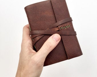 Personalized Leather Journal - Monogrammed Journal Brown & Green Leather Sketchbook Leatherbound Travel Notebook Small Diary