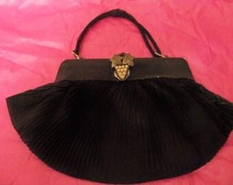 antique black evening bag  grapes clasp