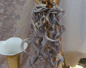 """Earrings Beautiful Unique Beige Suede Leather 8"""" Inch Long Curly Fringe Earrings (D13)"""
