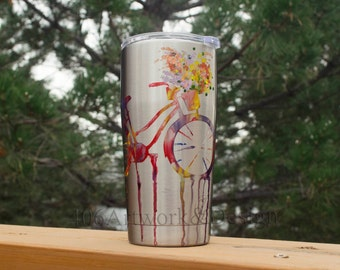Hand Painted, Stainless Steel, Rainbow Bike Travel Mug, Tumbler