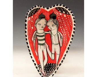 A BFF - Valentines Bowl - Original One of a Kind Painting by Jenny Mendes in a Ceramic Pinched Heart Bowl