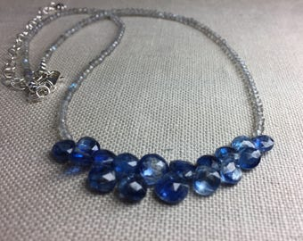 Labradorite Necklace with Kyanite Briolettes in Sterling Silver