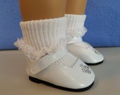 18 Inch Doll Accessories / Doll Shoes / Doll Socks / White Shoes / White Lace Ankle Socks / Doll Clothes / American Girl – 9021