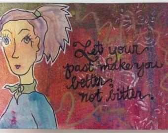 Whimsical girl print, gelli plate, postcard