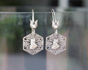 Antique Assemblage Earrings with Vintage Rhinestones and Silver Plated Filigree Napoleon Charms