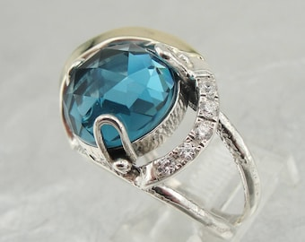 New Design 9K Yellow Gold and 925 Sterling Silver blue topaz & CZ ring (s 2577ar)