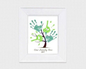 family tree kids handprint tree gift - printable file - diy decoration memory keepsake instant download mothers day fathers day grandparents