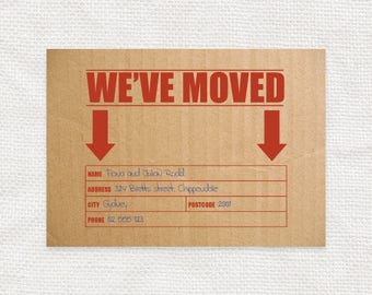 printable moving announcement cardboard postcard look, digital file, new home, new address, change of address card, packing box, funny humor