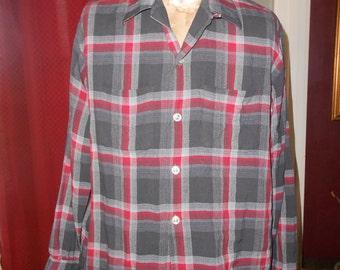 Men's L/S  50's Sporty Shirt, Grey,Red Plaid - Size L