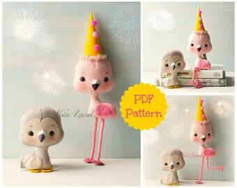 Flamingo and Dodo Felt Party (PDF Pattern)