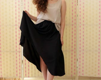 Women's skirt , black, full, unequal hem,  menthol, red, white , one size , more colors