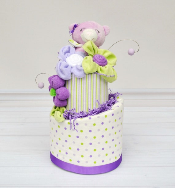 Diaper Cake for Baby Shower, Garden Party Baby Shower, Purple and Green Baby Shower, Baby Girl Diaper Cake, Baby Shower Gifts, Baby Gifts