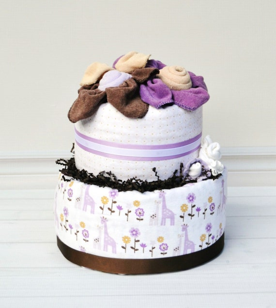 Girl Safari Baby Shower, Giraffe Baby Shower, Girl Giraffe Shower, Purple & Brown Shower, Diaper Cake for Girls, Girl Baby Cake, Shower Gift