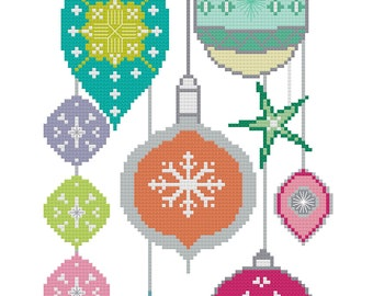 Christmas Designs  - Cross Stitch - Festive Stitchery designs - Needle Art Pattern - Retro Holiday Decor - Modern stitch guide