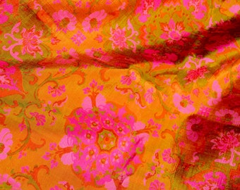 Vintage Fabric - Iridescent Pink Green and Orange Floral Silk  - 39 x 36