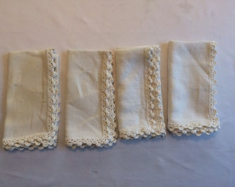 Vintage  Napkins with Hand Crochet Edge Set of 4