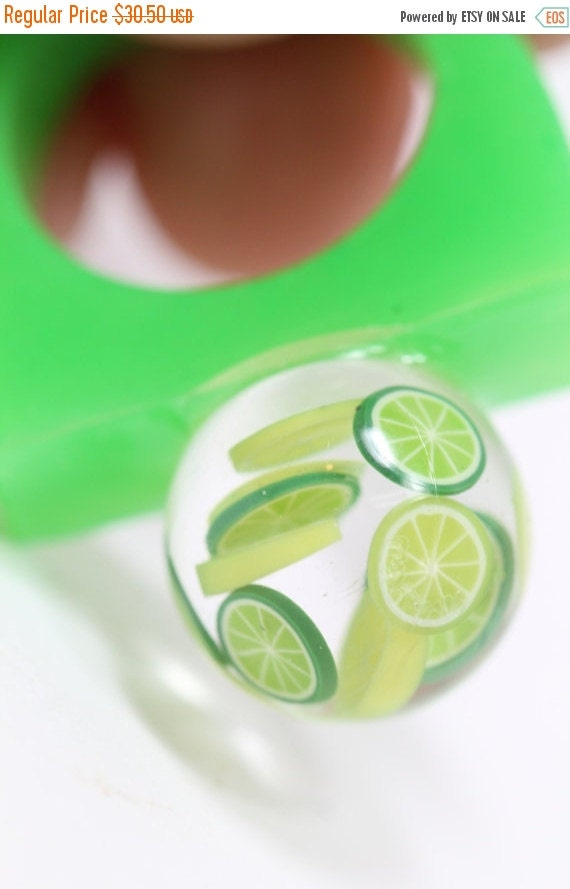 FLASH SALE 25% OFF Sz 7 Mini Citrus Fruit Cocktail Resin Bobble Ring