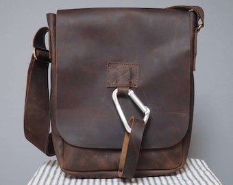 Man bag, manbag, leather bag, mens leather bag, crossbody, portrait leather bag, mens leather satchel, satchel bag, messenger bag, Karabiner