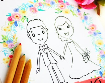 Wedding coloring book Wedding coloring pages Wedding activity