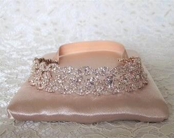 Rose Gold Crystal Rhinestone Bridal Garter,Wedding Garter,Bridal Accessories,Style #G24