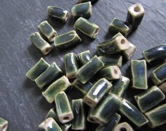 Shiny Green Glaze Beads Ceramic 'Glassy Copper Green Square Tube'  Beads Handmade Clay Pottery 547