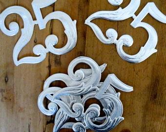 8 Vintage silver foil dresden numbers Silver foil 25's Silver embossed numbers Dresden number twenty five Dresden 2 Dresden 5 Bargain price