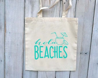 RESERVED FOR ASHLEY 8 Black Ink - Hola Beaches Beach Bachelorette Party Reusable Canvas Tote Bag