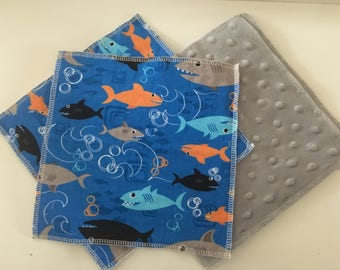 Cloth Minky Wipes, Baby Shower Gifts- 5 pack - Sharks