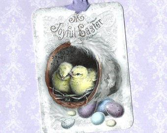 Easter, Gift Tags, Easter Greetings, Vintage Style, Chicks, Eggs, Easter Basket Tags