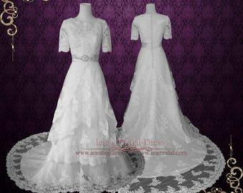 Modest Lace Wedding Dress with Round Jewel Neck Vintage Lace Wedding Dress with Sleeves | LDS Wedding Dress | Laura