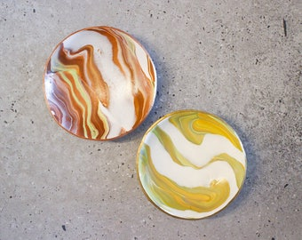Mustard, brown and white polymer clay marble bowl, ring & jewellery dish, home decoration