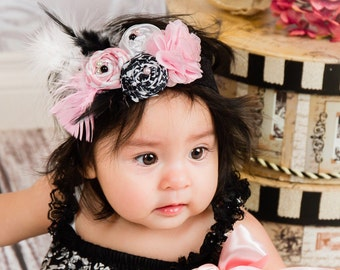 Pink Black White Fabric Rosette Headband Girl Baby Shower Over the Top feathers flower girl first birthday outfit photo prop Newborn Infant