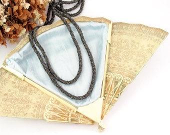 Antique 1920s Flapper Necklace | Vintage Gunmetal Gray Beaded Necklace | Gray Glass Bead Lariat Necklace | Antique Sautoir