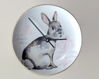 8 Inch Silent Bunny Rabbit Wall Clock, Porcelain Plate Clock, Unique Wall Decor, Kitchen Clock, Spring Wall Clock, Nursery Clock  2297