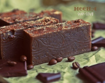 Mocha soap scrub.  Coffee Chocolate soap. Yummy Vegan soap. Body and Kitchen soap-scrub. All natural. Petite size