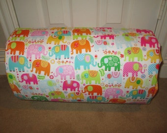 MONOGRAMMED Children THICK COMFY Nap Mat PreSchool Happy Elephants w/Attached Dotted Hot Pinkl Minky Blanket and Attached Pillow