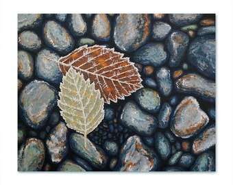 Frosted Leaves and River Rocks Painting Print