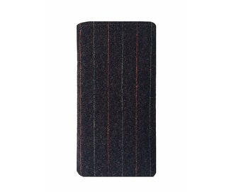iPhone 7 case, iPhone 7 Plus cover, Black Pinstripe 100% authentic English Wool Flannel for perfectly tailored sleeve