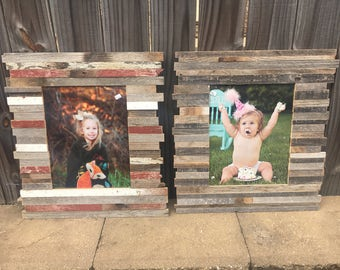 """ON SALE and Ready to Ship: 11x14"""" Pieced Reclaimed Rustic Wood Picture Frame"""